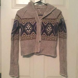 Free people cropped wool hooded cardigan